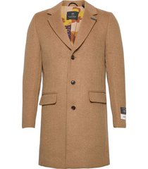 classic wool-blend overcoat wollen jas lange jas bruin scotch & soda