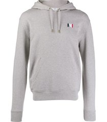 ami ami embroidered hoodie - grey