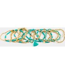 ren 12 pk beaded bracelet set - turquoise