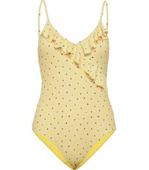 prinia frill swimsuit badpak badkleding geel becksöndergaard