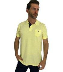 camisa polo mister fish slim com bolso bb masculina
