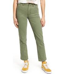 lee high waist dungaree ankle jeans, size 32 in vintage olive herringbone at nordstrom