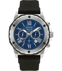 bulova men's chronograph marine star black silicone strap watch 44mm 98b258