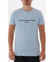 tommy hilfiger logo t-shirt - chambray blue  mw0mw11465