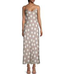 theory women's polka dot silk slip dress - mushroom multi - size 00
