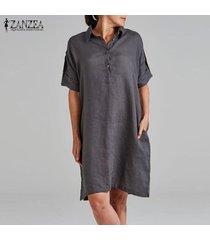 zanzea summer summer button up sundress loose hasta la rodilla vestido de algodón para mujer -gris