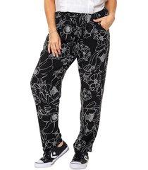 pantalón negro mecano fibrana gran flor