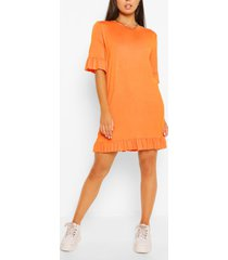 jersey jurk met ruches, oranje