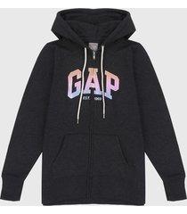 chaqueta gris-multicolor gap
