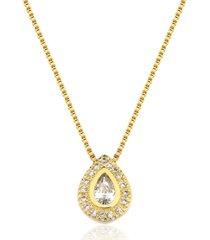 colar toque de joia gota brilhante dourado - kanui