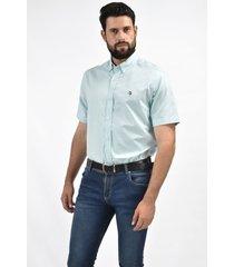 camisa de vestir verde oxford custom fit para hombre