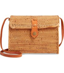 nordstrom anderson structured rattan flap crossbody bag - brown