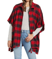 women's treasure & bond plaid zip front cape, size one size - red