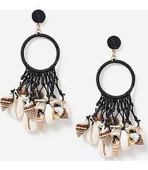 *shell drop earrings - black