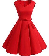 belted sweetheart sleeveless dress