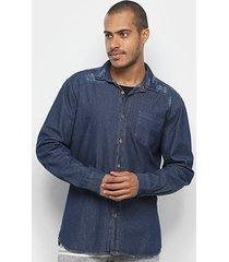 camisa jeans manga longa malwee estonada masculina
