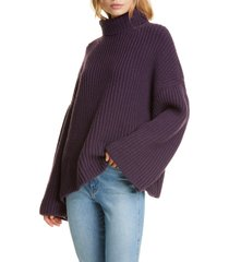 women's nanushka turtleneck wool blend sweater, size x-small - burgundy