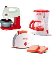 kit brinquedo mini eletrodomésticos batedeira, cafeteira e torradeira - samba toys - kanui