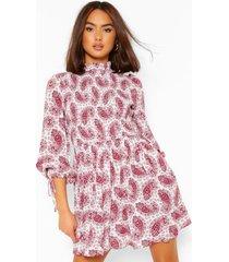mixed print balloon sleeve skater dress, berry