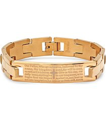 18k goldplated & stainless steel our father bracelet