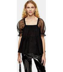 black organza smock peplum tiered blouse - black