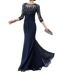 dislax 3/4 sleeves lace appliques chiffon mother of the bride dress prom gowns n