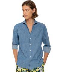blue flamed denim cotton man shirt