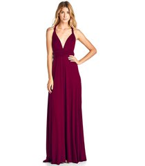long burgundy convertible maxi infinity spandex bridesmaid wedding gown dress