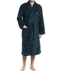 men's polo ralph lauren microfiber men's robe, size large/x-large - black