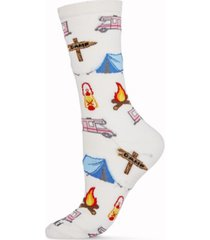 women's happy camper bamboo blend crew socks