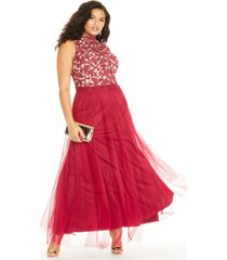 city studios trendy plus size rhinestone embroidered gown