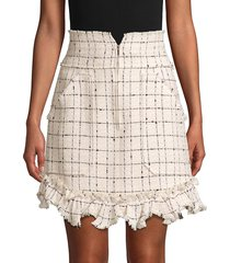 rebecca taylor women's plaid mini tweed skirt - cream combo - size 8