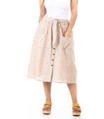 falda 3/4 rayas lino