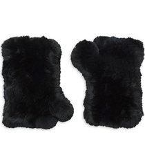 rex rabbit fur fingerless gloves