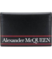 alexander mcqueen logo printed bifold wallet - black