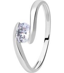 anello in oro bianco e zirconi per donna