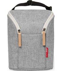bolsa térmica para mamadeira double bottle bag (grab & go) - grey melange skip hop