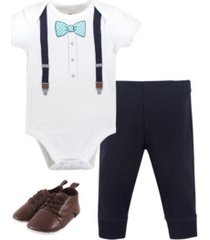 little treasure baby boys mint stripe bow tie bodysuit, pant and shoe set, pack of 3
