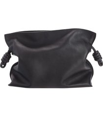 loewe flamenco knot leather clutch - black