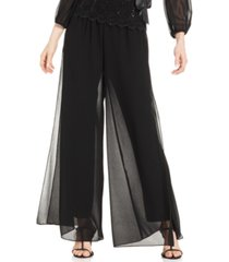 alex evenings petite straight-leg overlay pants