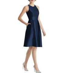 women's alfred sung jewel neck satin cocktail dress, size 18 - blue