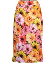 gerbera-daisy print midi skirt