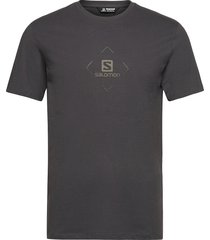 salomon cotton tee m ebony/bk/olive nigh t-shirts short-sleeved svart salomon