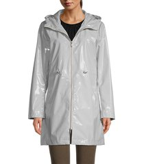 jane post women's iconic faux leather hooded parka - light grey - size m
