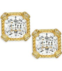 goldplated sterling silver & cubic zirconia stud earrings