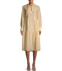 vince women's tiered midi dress - naples sun - size l