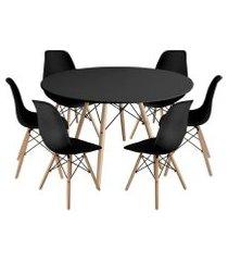 kit mesa jantar eiffel 120cm preta + 6 cadeiras charles eames - preta