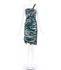 missoni black blue animal print ruched one shoulder dress blue/black/animal print sz: s
