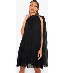 geplooide swing jurk met cape, black