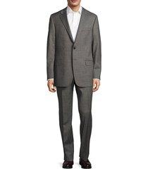 hickey freeman men's milburn ii classic fit textured wool suit - grey - size 42 l